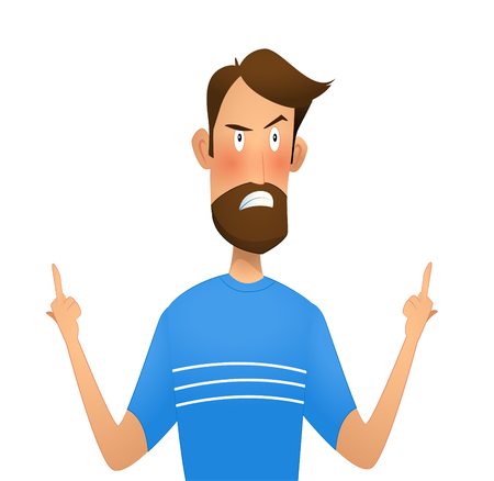 Dissatisfied man standing showing middle finger   gesture. Cartoon vector illustration Ilustrace