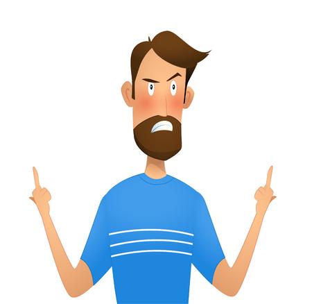 Dissatisfied man standing showing middle finger   gesture. Cartoon vector illustration Illustration