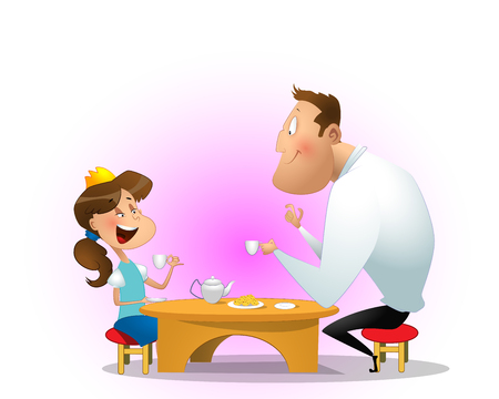 Father drinking tea with daughter. Illustration