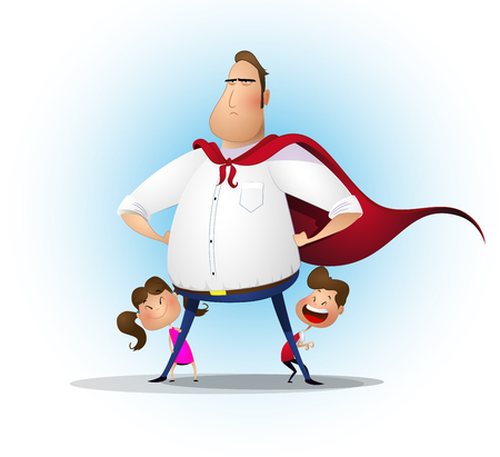 Father, daughter and son playing superhero at the day time. Ilustracja