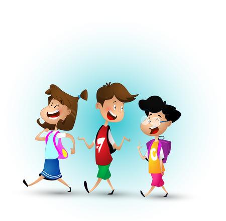 Grupa dzieci razem chodzą do szkoły.