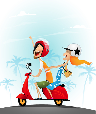 Happy young couple having fun on a scooter. Illustration