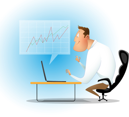 Businessman checking reported profits on laptop. Cartoon vector illustration Vectores
