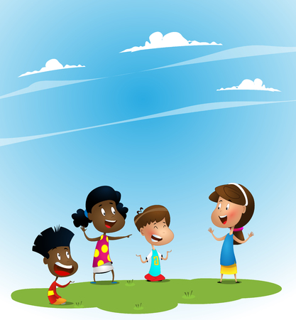 Group of children playing guessing game.