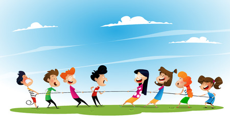 Fun cartoon boys and girls pulling rope.