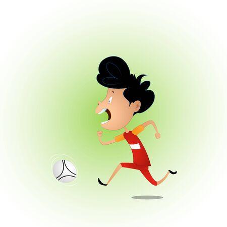 Boy playing football vector illustration