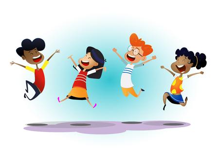 幸せな学校の多民族の子供たちは喜んでジャンプ 写真素材 - 100957286
