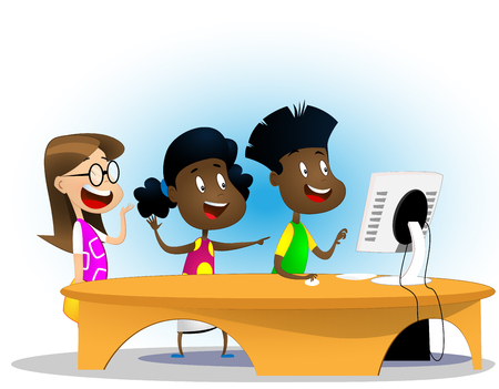 Group of elementary multiracial children in computer class. Cartoon vector illustration