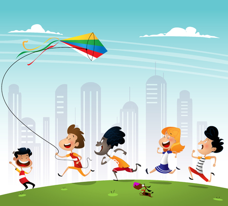 Group of multiracialkids running in the park with kite.