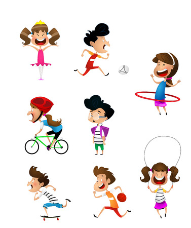 sport for kids including football, basketball, bicycle