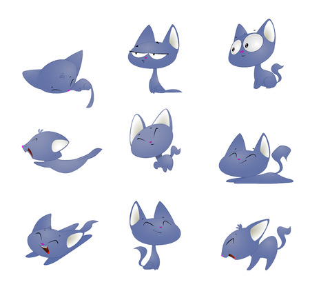 Cute cartoon cat in different poses. 免版税图像 - 105795365
