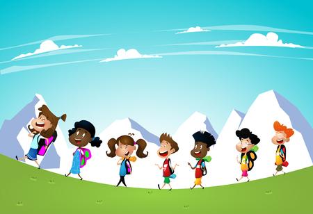 Illustration of Little Kids on a Hiking Trip Ilustração