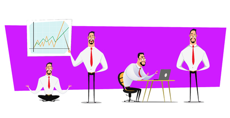 Set of businessmen cartoon character design with different poses.