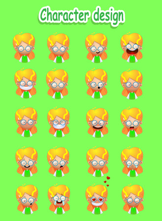 Cartoon blond girl emotions set. Ilustrace