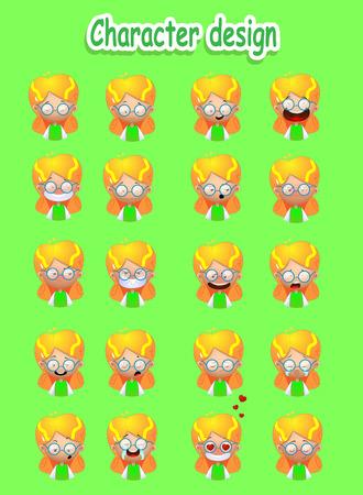 Cartoon blond girl emotions set. Illustration