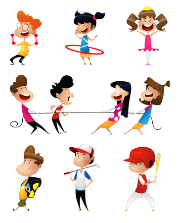 Illustration of many children doing sports
