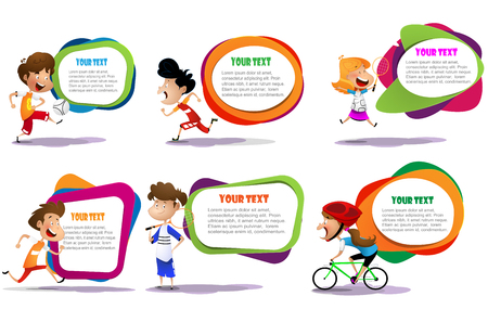 lllustration of the kids engaging in different sports activities