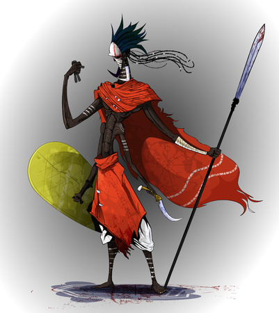 Concept art based on traditional African tribes. A four-armed soldier holds a shield, a spear and a Voodoo doll, combining the spirit of a warrior and sorcerer. Çizim