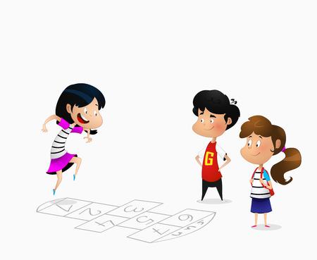 Illustration d'enfants de dessin animé jouant à la marelle. Vecteur