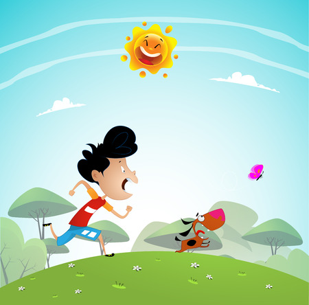 Boy playing with Dog In the Park. Cartoon vector illustration Stock Photo