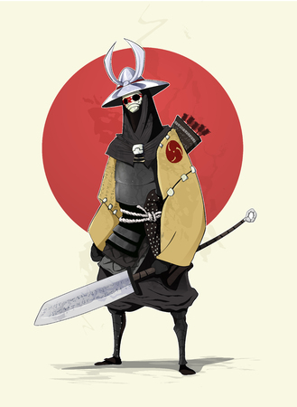 Concept illustration of samurai with red sun on background. Vector Illustration