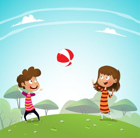 Deux enfants jouant avec une balle dans le parc. Illustration vectorielle de dessin animé