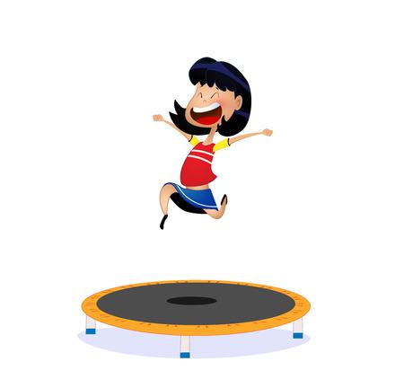 illustration of cartoon girl jumping on trampoline. Vector