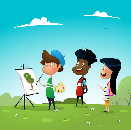 Atist boy painting while his frienda watching his workprocess. Creative people professions. Vector illustration