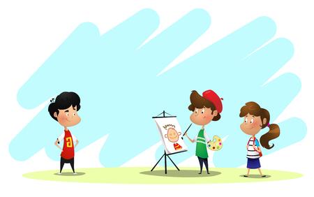 Children drawing in art class Ilustração