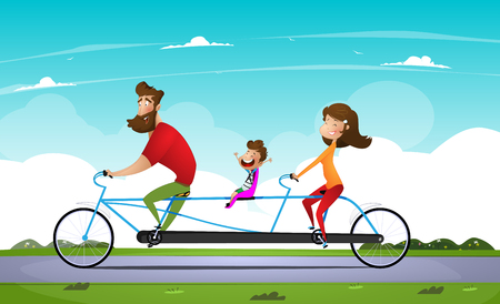 Family riding a bicycle in the park. Tandem bike. Vector illustration