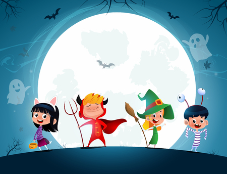 Group of cartoon kids in Halloween in the moonlight. Holiday night. Vector Çizim