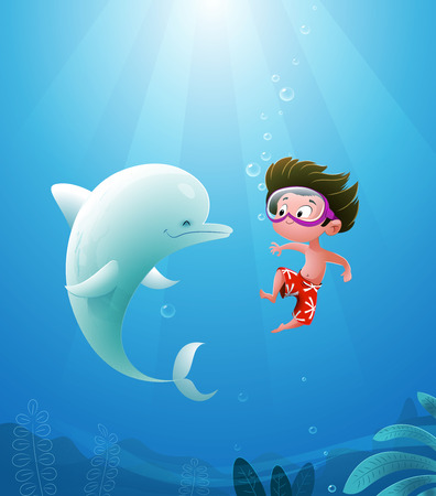 Vector illustration of Cartoon kid with dolphin swimming. Sea vacations.