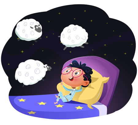 Boy counting sheep to fall asleep. Cartoon vector llustration Иллюстрация
