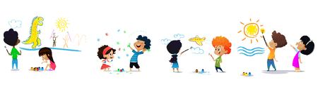 Group of cartoon kids draw on wall. Seamless pattern illustration. Vector Illustration