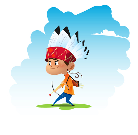 Little cartoon boy playing dressed like an indian warrior. Vector