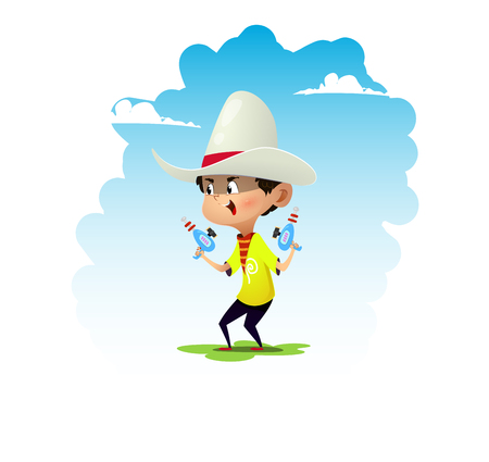 Cartoon boy dressed like cowboy. Vector illustration