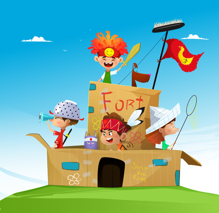 Vector illustration of happy cartoon children playing in paper fortress. Summer vacation.