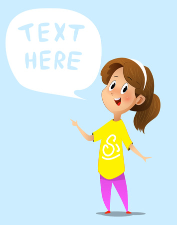 Cartoon girl with speech bubble. Cartoon vector illustration Imagens - 115243721