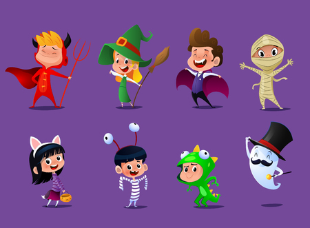 Set of cute cartoon children in colorful halloween costumes:witches,dragula,mummy,some reptile, kitty, prisoner, Satana and one real ghost. Vector illustration