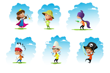 Set of chidren weared in different costumes: pirate, fairy, adventurer, superhero, cowboy, indian. Vector.
