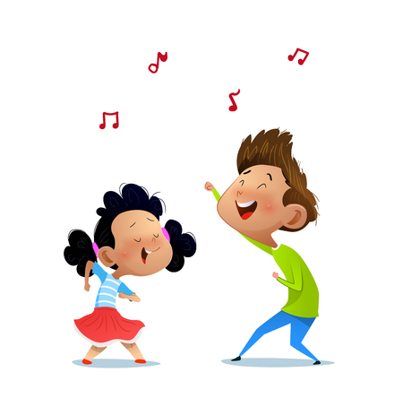 Illustration of two dancing kids. Cartoon vector illustration Иллюстрация