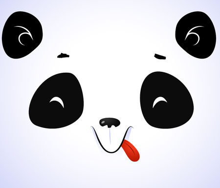 Cute panda face on white background. Vector