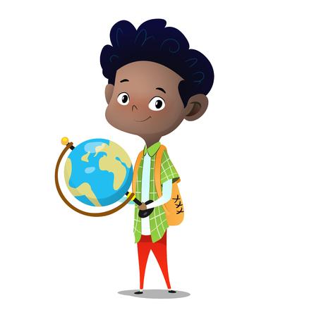 Standing boy holds big desktop terrestrial globe in hands. Cartoon vector character illustration