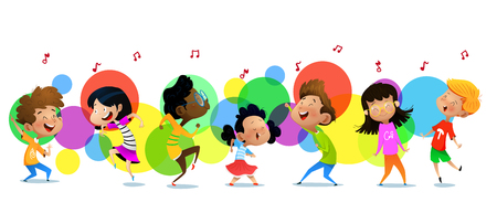 Group of dancing cartoon children. Vector illustrations Illustration