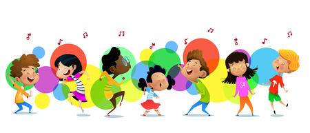 Group of dancing cartoon children. Vector illustrations Illustration