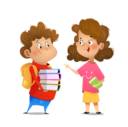 Two multiracial children studying, reading books and discuss them. Kids talking to each other. Cartoon vector illustration