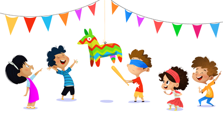 Happy group of children having fun at birthday party. Template for advertising brochure. Funny cartoon character