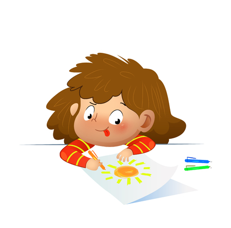 Littlr girl drawing the picture. Cartoon vector illustration