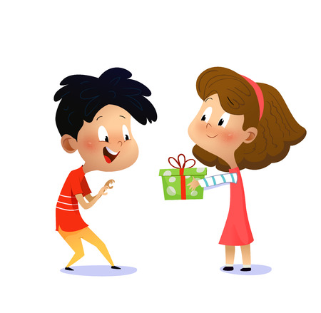 Childrens birthday. Girl gives boy a present. Vector cartoon illustration