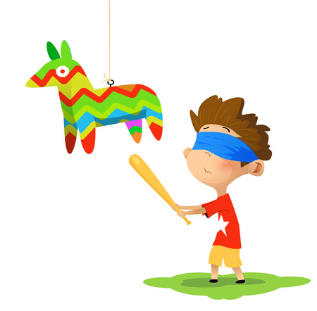 Kid going to hit Pinata by baseball stick. Birthday party concept. Vectores